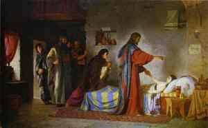Jesus Raising of Jarius Daughter Vasiliy Polenov 1871AD